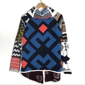 Vintage Aztec Geometric Print Full Zipper Sweater